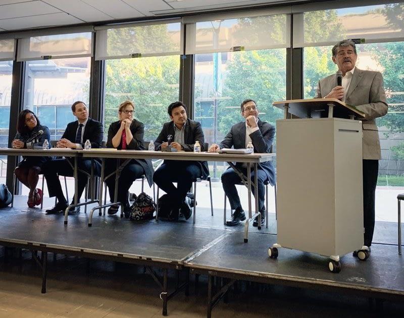 David Orr moderates panel discussion with Ald. Scott Waguespack, Ald. Sue Garza, Ald. Byron Sigcho-Lopez, Ald. Matt Martin, Ald. Rossana Rodriguez-Sanchez
